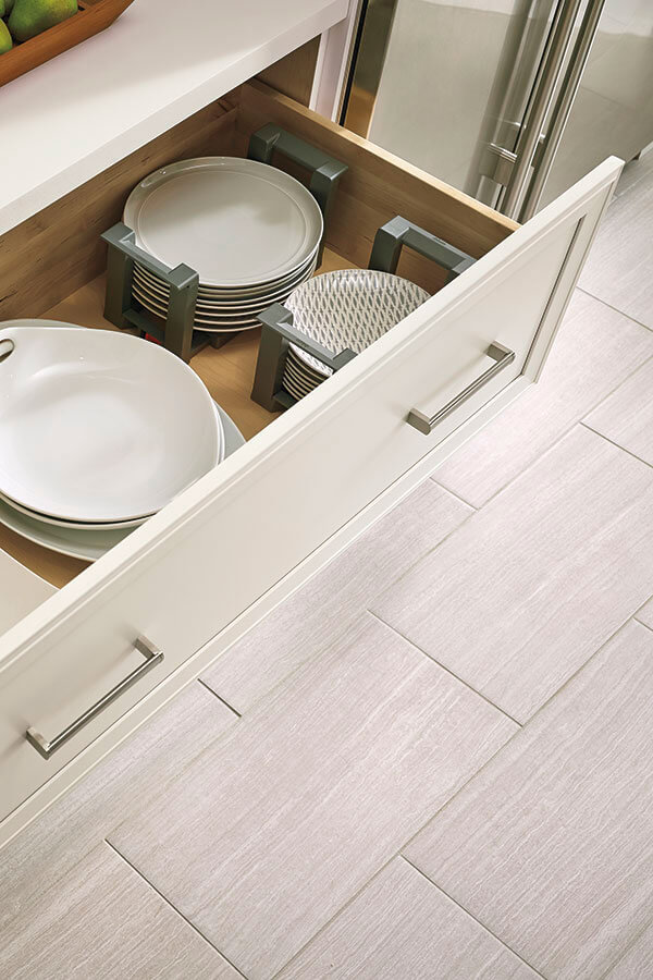 wide cabinet drawer with plate holder