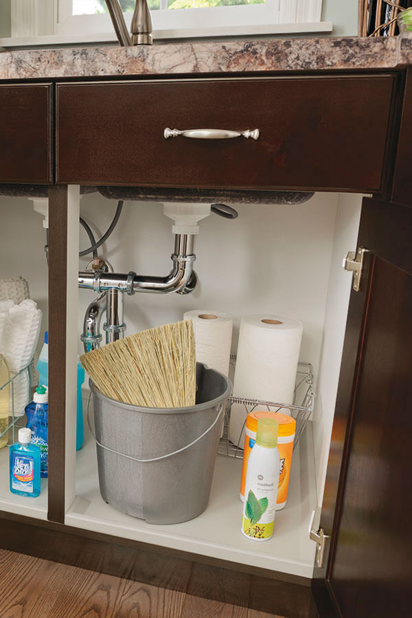 sink base cabinet with tilt-outs and cabinet mat