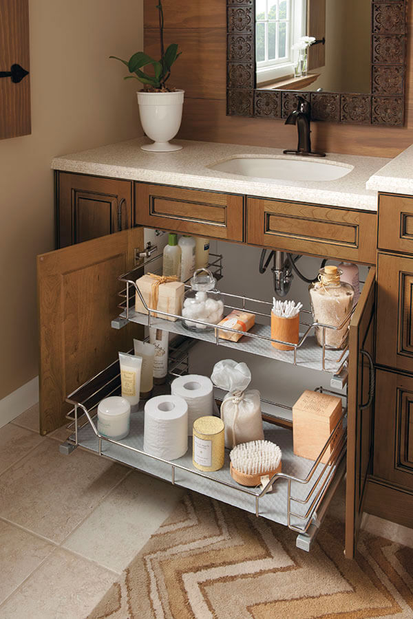 vanity sink base cabinet with u-shaped slide-out