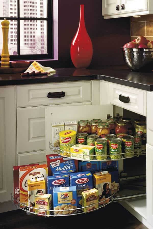 base blind corner cabinet with half-round tray