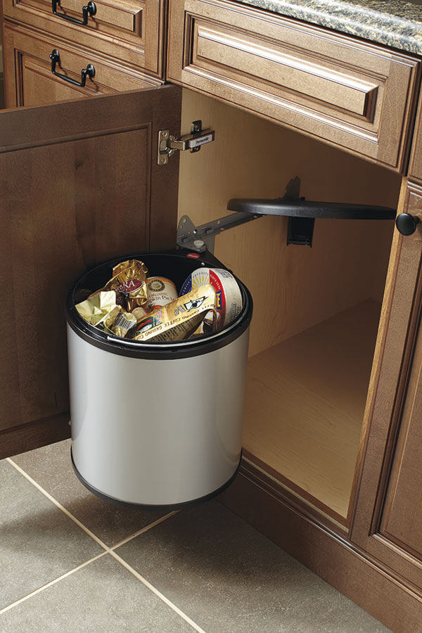sink base cabinet with round waste bin